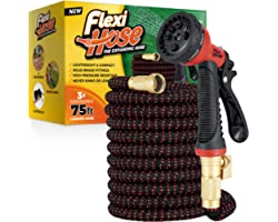 """Flexi Hose Upgraded Expandable Garden Hose, Extra Strength, 3/4"""" Solid Brass Fittings - The Ultimate No-Kink Flexible Water H"""