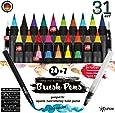 Brush Pen Set Pinselstifte - [ 24+2+3+2 ] für bildschöne Aquarell/Watercolor Effekte, Bullet Journal Zubehör und Hand-Lettering/Kalligraphie Zeichnungen - Stifte mit flexibler Echtpinsel-Spitze