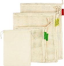 Obst-und Gemüsebeutel aus Bio-Baumwolle, Wiederverwendbare Produce Taschen, Einkaufsnetz baumwollbeutel Brotbeutel, Eco-Friendly Net Bags für Lebensmitteleinkauf und Lagerung, Hand-Made Doppelt genäht Langlebiger und waschbar - Set mit 6 Taschen