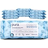 Pura Flushable Baby Wipes (10 Packs Of 70 Wipes, 700 Wipes), 100% Plastic Free, Biodegradable, 99% Water Organic Aloe…