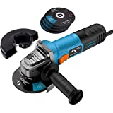 Angle Grinder 860W Tilswall 4-1/2-inch Side Disc Grinder 12000RPM Tool with 3 Cut Off and 2 Grinding Polishing Abrasive Wheels