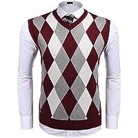 JINIDU Men's Argyle V-Neck Sweater Vest Casual Knitwear Sleeveless Jumper Gilets