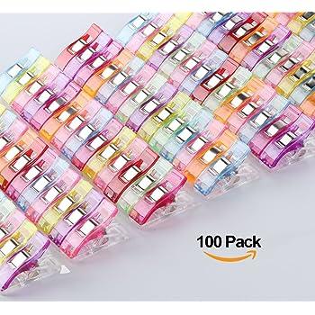 ilauke 100PCS Clips Pinces DIY Pince 2.7 * 1.0 * 1.5cm Pince Clips Couture en Plastique pour Reliure Patchwork Crochet Tricot Artisanat Couleurs Assorties