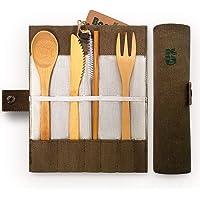 Bambaw Set Couverts en Bambou | Couverts en Bois | Kit Couverts écologique | Couteau, Fourchette, cuillère et Paille| Couverts de Voyage | Couverts Camping avec Housse de Rangement | 20 cm