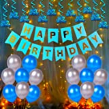 Party Propz Happy Birthday Decoration Kit Items Combo - 44Pcs for Kids Boys Adult Men Husband, Banner, Balloon, Swirls with F