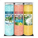 Nortembio Sels d'Epsom Pack 3 x 430 g. Fragances de Jasmin, Cannelle et Noix de Coco. Hydratés avec de la Vitamine C et E. Se
