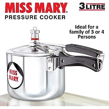 Hawkins Miss Mary Aluminium Pressure Cooker, 3 litres, Silver