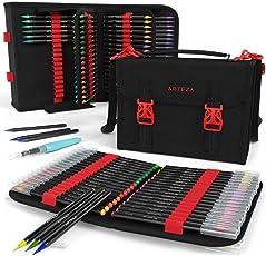 Arteza Brush Pen Set — Hochwertige Pinselstift Set Fasermaler — Und Wasserpinsel Und Aufbewahrungstasche Mit 108 Halteschlaufen