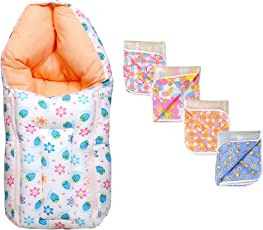 Baby Fly New Born Baby Combo Pack of 1 Blue Strawberry Print Baby Sleeping Bag/Carry Bag and 4 Plastic Diaper/Nappy Changing Sheets