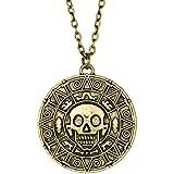 papapanda Collar con Azteca Moneda de Oro Piratas del Caribe Aleación Bronce