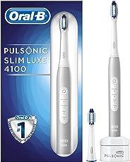 Oral-B Pulsonic Slim Luxe 4100 Elektrische Schallzahnbürste, mit Timer und zwei Aufsteckbürsten, platin