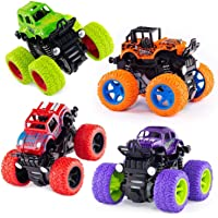 Techno Buzz Deal® 4pc 4WD Mini Monster Trucks Friction Powered Cars for Kids Big Rubber Tires Baby Boys Super Cars Blaze…