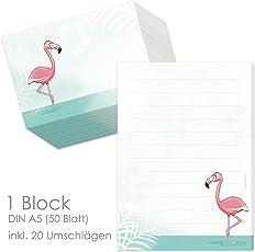 """Schreibblock / Briefblock """"FLAMINGO"""" DIN A5 (liniert 50 Blatt) inklusive 20 passenden Umschlägen / Briefpapier für Kinder / Briefpapierset Kinder/ Briefpapier für Mädchen"""