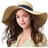 FURTALK Damen Sonnenstrohhut mit breiter Krempe UPF 50 Sommerhut Faltbarer Roll-Up-Floppy-Strandhut für Damen