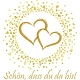 20 servetten Schön, dass du da bist | gouden harten voor de bruiloft en gouden bruiloft 33 x 33 cm
