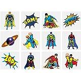 Henbrandt 24 Kids Super Hero Tattoos, Multi