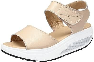 DAFENP Sandali con Zeppa Donna Estivi Comode Cuoio Platform Sandalo Eleganti Plateau Scarpe con Tacco per Camminare