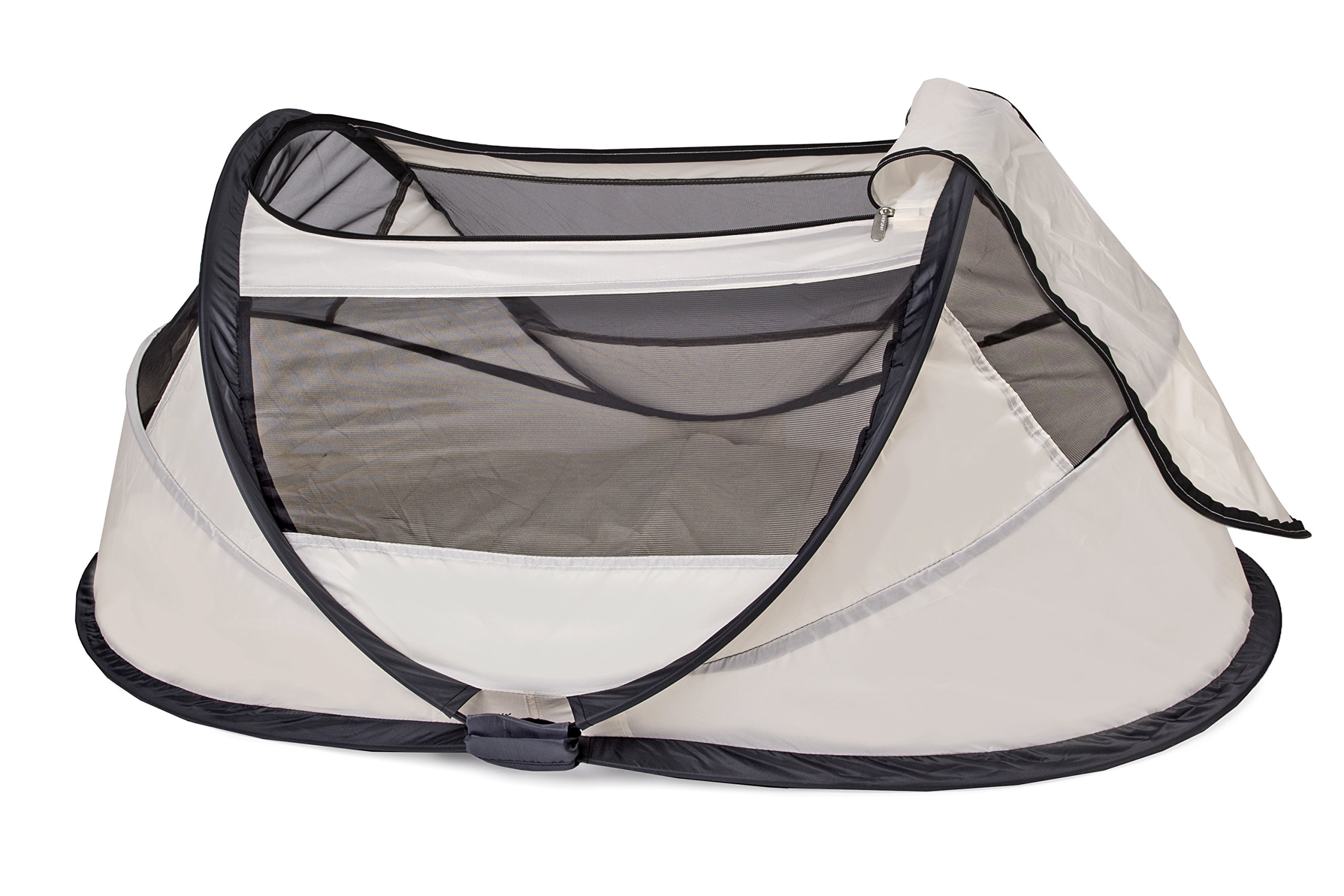 Travel Cot Babybox (Khaki) Deryan 50% UV Protection and flame retardant fabric Setup in 2 seconds and a anti-musquito net  2