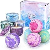 OFUN Bombes de Bain et Bougies Parfumées de 9pcs, Bombes de Bain, Coffret cadeau de bain pour femmes, hommes, filles, spa