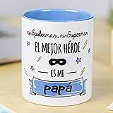 La Mente es Maravillosa - Taza con frase y dibujo divertido (Ni spiderman, ni superman el mejor héroe es mi papá) Regalo orig