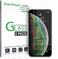 amFilm iPhone XS/X Panzerglas Displayschutzfolie, Panzerglas (Gehärtetem Glas) Schutzfolie mit Einfache Installationsablage für Apple iPhone XS/X (2 Stück)