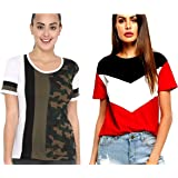 JUNEBERRY 100% Cotton Multicolored Stylish Round Neck T-Shirt for Women/Girls - Pack of 2