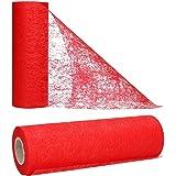 AmaCasa Chemin de Table Non tissé Courroie de Table Ruban de Table Non tissé Mariage Communion 23cm / 25m (Rouge)