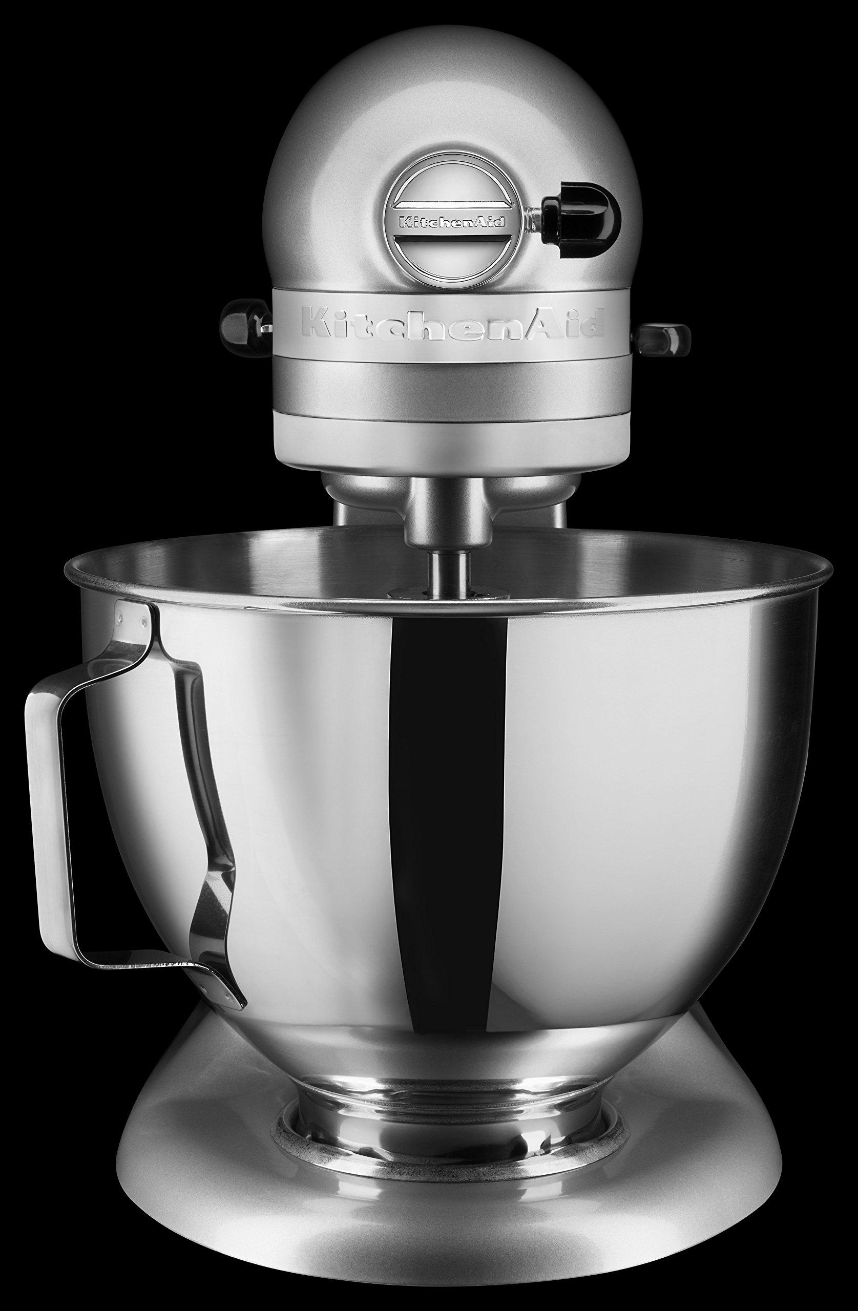 KitchenAid-5KSM95PSECU-Kchenmaschine-43-l-Spritzschutz-300-Watt-Flachrhrer-Teighaken-und-Schneebesen-Silber