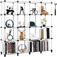 ANWBROAD LCS016T Cube de Rangement 16 Cubes pour Placard Bibliothèque Rangement pour Chambre à coucher, Étagère en…