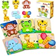 lenbest Wooden Puzzles, 6 Pack Animal Wooden Jigsaw Puzzles Set Educational Montessori Children Puzzle Toys for 3+ Year Olds