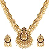Shining Diva Fashion Latest Temple Design Gold Plated Traditional Pearl Necklace Jewellery Set for Women