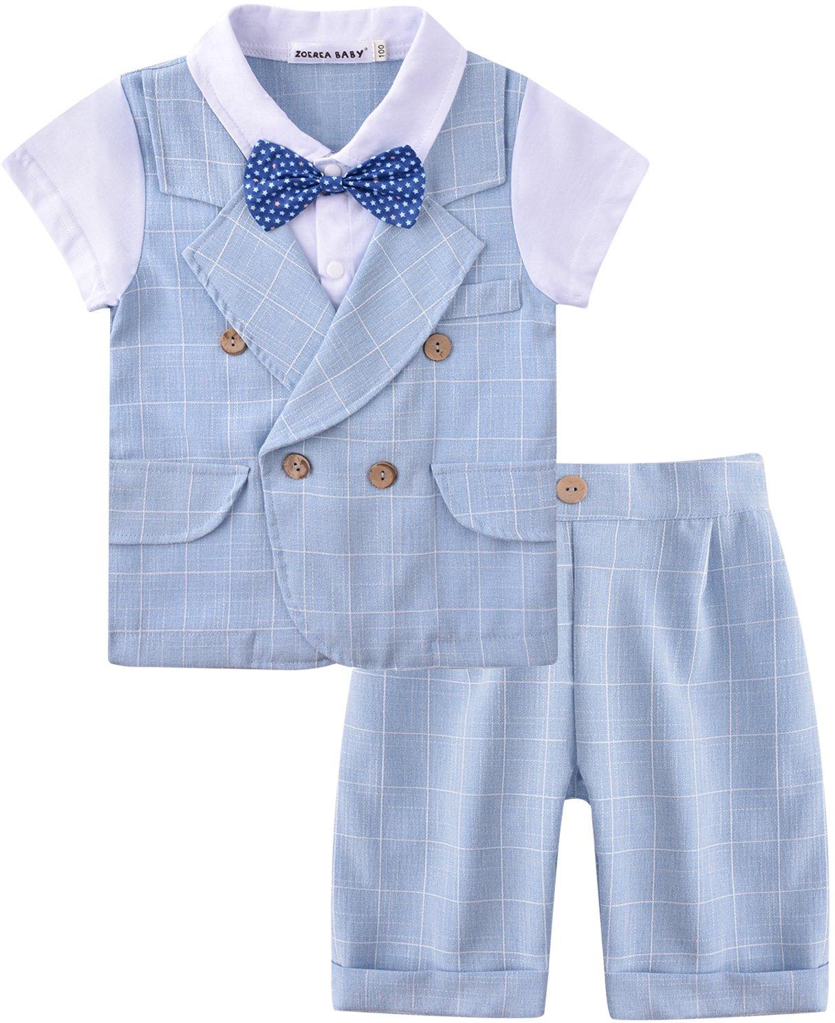 ZOEREA Baby Junge Anzug 2 TLG Gentleman Kleidung kurzen Ärmeln mit Bowtie Jungen Kleidung Gentleman Baumwolle Sommer…