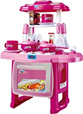 Webby Kids Kitchen Cooking Set with Music and Lights, Pink