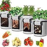 Potatisodlingspåsar, grönsaksodlingspåsar andningsbara ovävt tyg trädgårdsodling väska med handtag och tillgångsklaff för pot