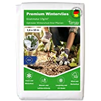Tamay Wintervlies Premium (1,6 x10m) 17g/m2 Hochwertiges Kälte und Frostschutz Vlies für Pflanzen I Sicheres…