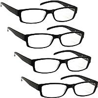The Reading Glasses Lunettes de Lecture Noir Léger Confortable Valeur Pack 4 Designer Style Hommes/Femmes UVR4Pk032…