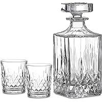 Amisglass Verres et Carafe à Whisky en Cristal, 2 Mugs de 300ml et 1 Décanter de 700 ML, Gobelets Transparents sans…