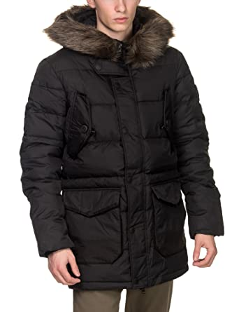 Superdry Men's Longline Down Chinook Parka Jacket, Black: Amazon ...