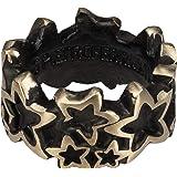 Pietro Ferrante/Anello/Stelle Stars Black Vintage da Uomo/Donna/Unisex Ottone Realizzato a Mano Artigianale Made in Italy Int
