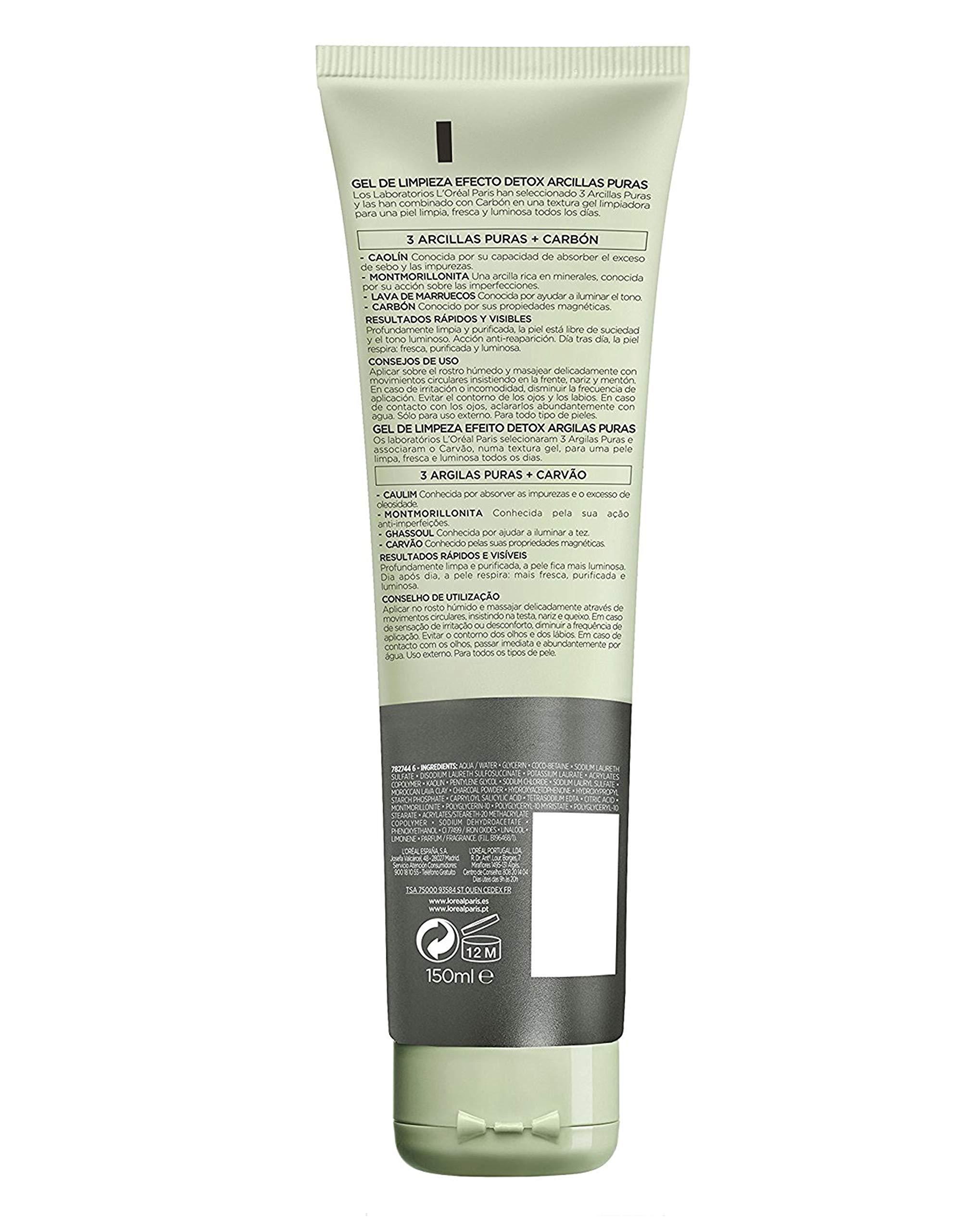 L'Oreal Paris Dermo Expertise – Arcillas puras gel limpiador detox, color negro – 150 ml