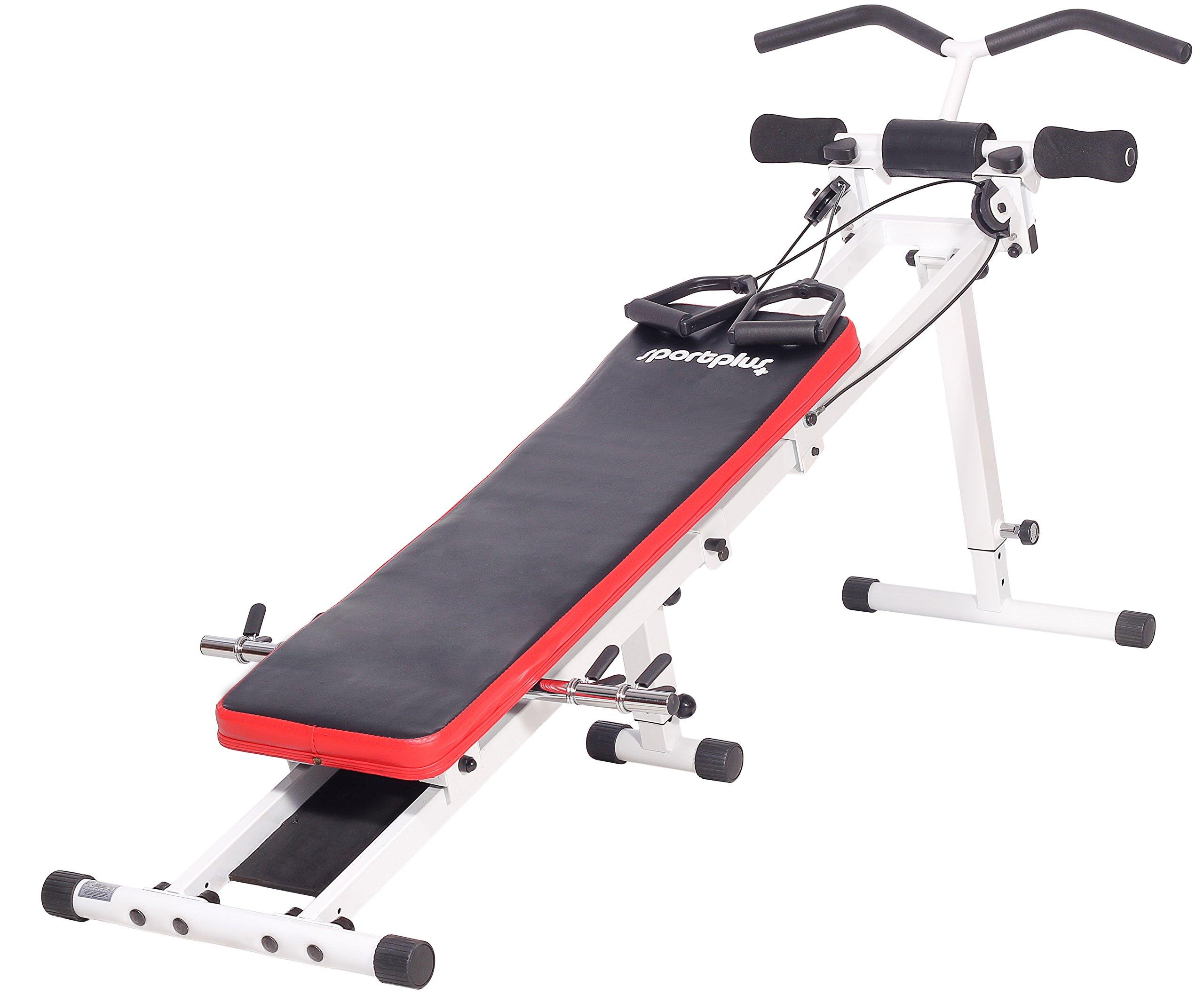 SportPlus Banco de Abdominales con Sistema de Polea – Aparato Fitness para Entrenamiento en Casa, Plegable, máx. Peso de Usuario 120 kg