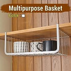 Under shelf Rack Basket Organizer for Almirah cup holder kitchen cupboard