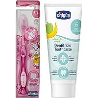 Chicco Toothbrush (Pink) & Chicco Toothpaste (Mela-Applebanana), 50ml