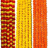 VRCT Artificial Marigold Fluffy Flowers Garlands for Decoration - Pack of 15