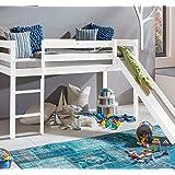 Kinderbett Hochbett mit rutsche Leiter Hochbett Spielbett Kiefer Massiv weiss oder Unbehandelt (Weiss)