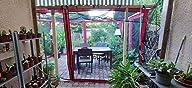 paramondo Pared Lateral para Deluxe Gazebo Pabellón de jardín Cenador, Antracita - Solapa Color Burdeos, Pack de 4