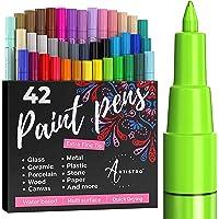 Artistro marqueur Acrylique stylos acryliques - 42 Couleurs - Marqueurs Peinture Acrylique - Feutre Acrylique Pointe…