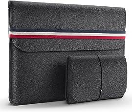 HOMIEE Neue 13-13,3 Zoll Laptoptasche mit Extra Aufbewahrungsbox, Filz Sleeve Hülle Laptop Ultrabook Notebook Tasche, Netbook, Tablet Hülle Ultrabook, stoßfest (Gummiband Dunkelgrau)