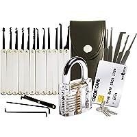 20-teiliges Lockpicking-Set mit Transparentem Vorhängeschloss & Dietrich Kit im Kreditkartenformat von LockCowboy - für…