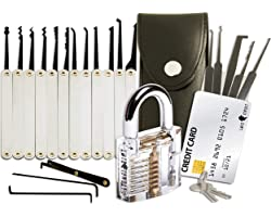 20-Piece Lock Pick Set with Transparent Training Padlock and Credit Card Lock Picking Tool Kit by LockCowboy + Guide for Begi